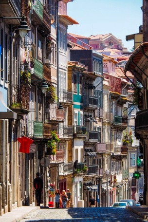 Porto street view, colourful historic facades