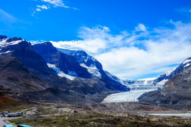 view of Athabasca Glacier along Icefields Parkway in British Columbia,Canada