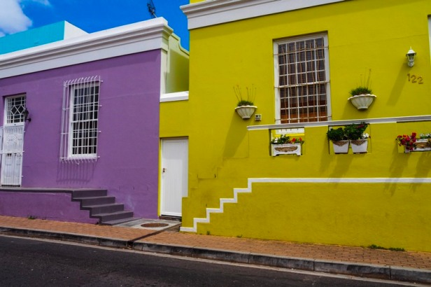 coloured houses in the Bo-Kaap district of Cape Town