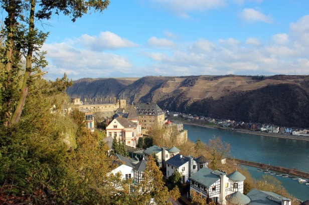 a view of Burg Rheinfels and the river Rhine in Germany