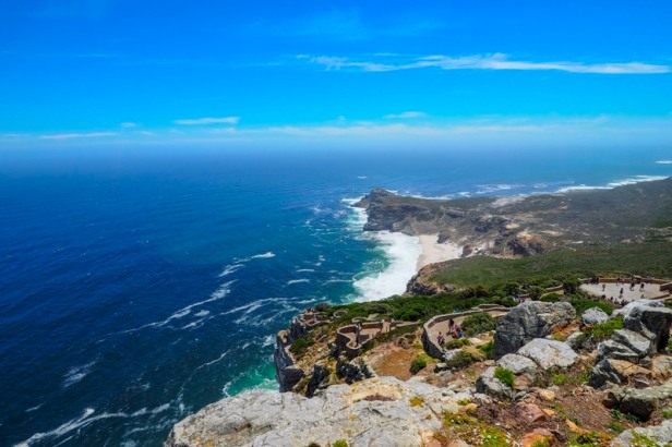 a panoramic view down from the lighthouse at Cape Point
