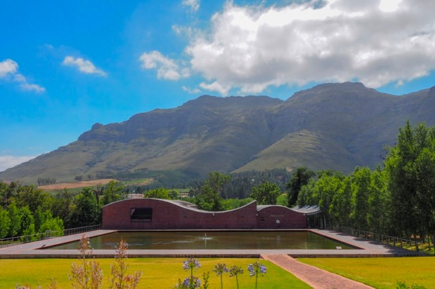 a view at Dornier Wines modern winery building in the Western Cape Winelands