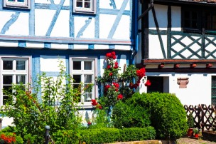 a half-timbered facade in Germany