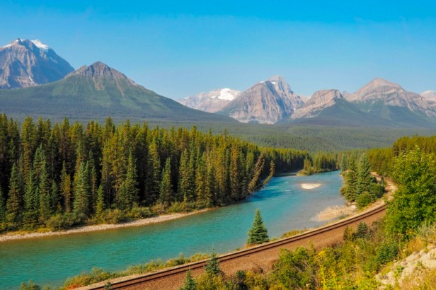a view at Morants Curve at Banff National Park, British Columbia, Canada