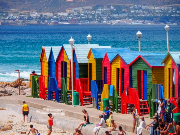 colourful beach huts at Muizenberg Beach in South Africa