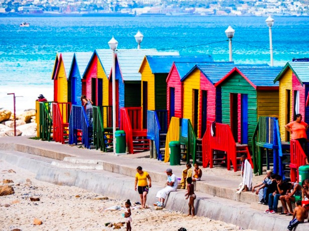 colourful beach huts at Muizenberg in South Africa