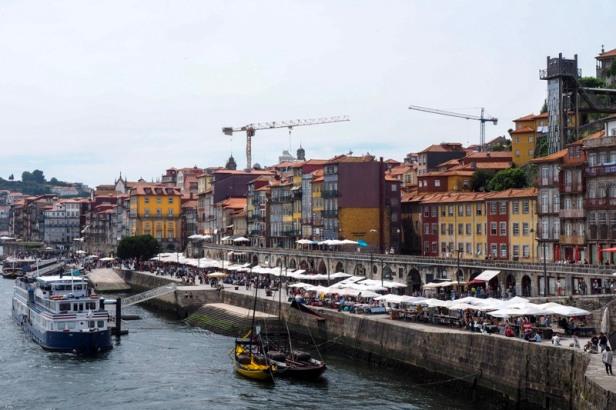 Porto Ribeira district coloured riverfront