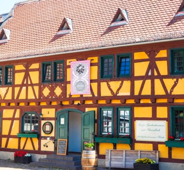 a half-timbered house facade in Germany