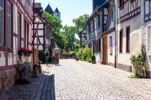 a cobble-stoned street view in Germany