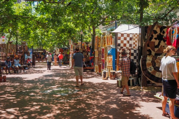 stalls selling South African art along Shortmarket Street in Cape Town