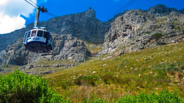 a view at the cable car going up to table mountain