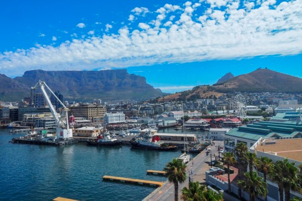 a view at Table Mountain in Cape Town from V+A Waterfront