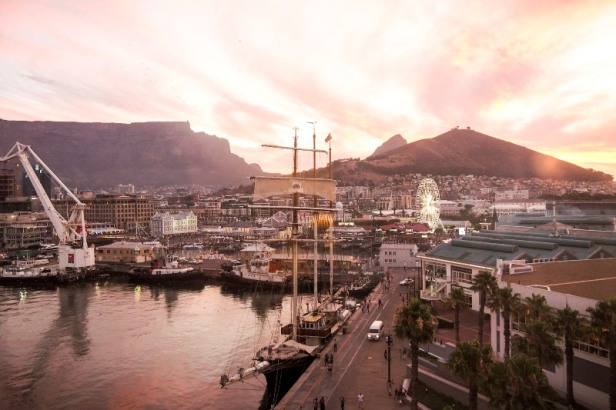 a view at V+A Waterfront at sunset