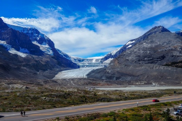 a view at Athabasca Glacier along Icefields Parkway