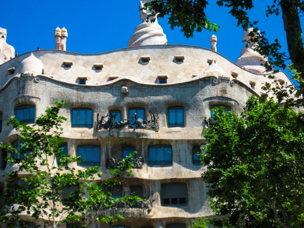 a view at Gaudi designed house in Barcelona