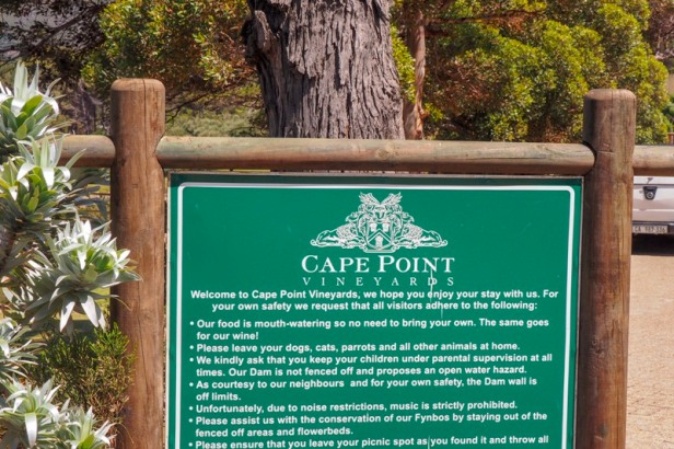 sign of Cape Point Vineyards, Cape Town, South Africa