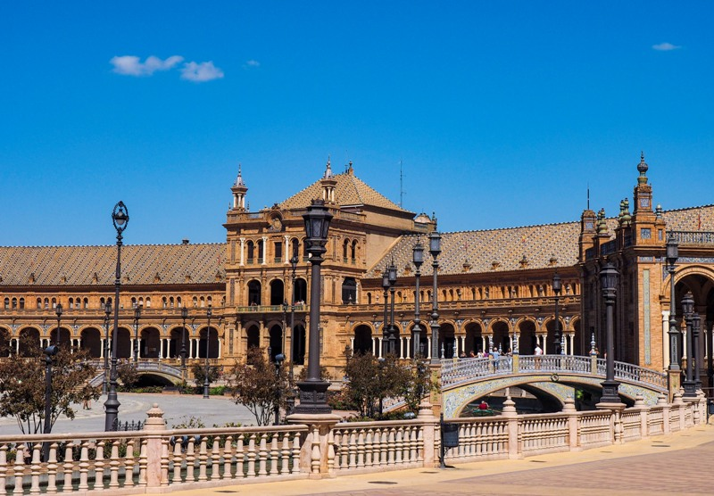 a view at plaza de espana in Sevilla