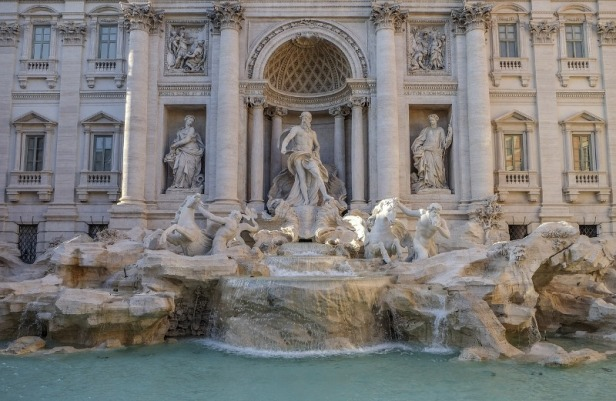 a view at trevi fountain in Rome