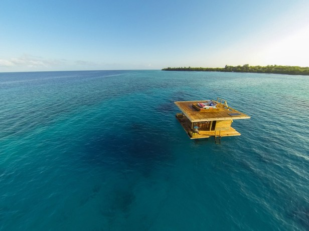 a floating room at Manta Resort