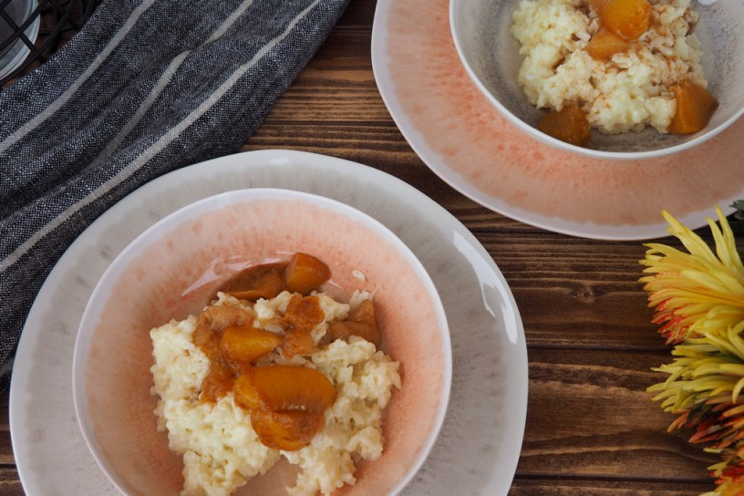 White chocolate rice pudding with peach compote