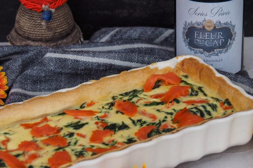 Smoked salmon-spinach tart | Fleur du Cap Chardonnay