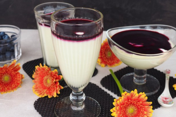 White chocolate coconut mousse with blueberry sauce