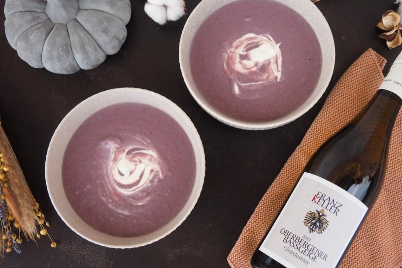 Purple Potato Soup | Oberbergener Bassgeige Chardonnay