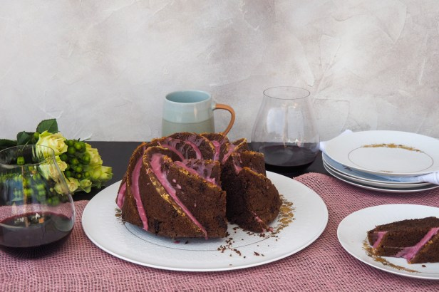 Red wine chocolate bundt cake with red wine icing