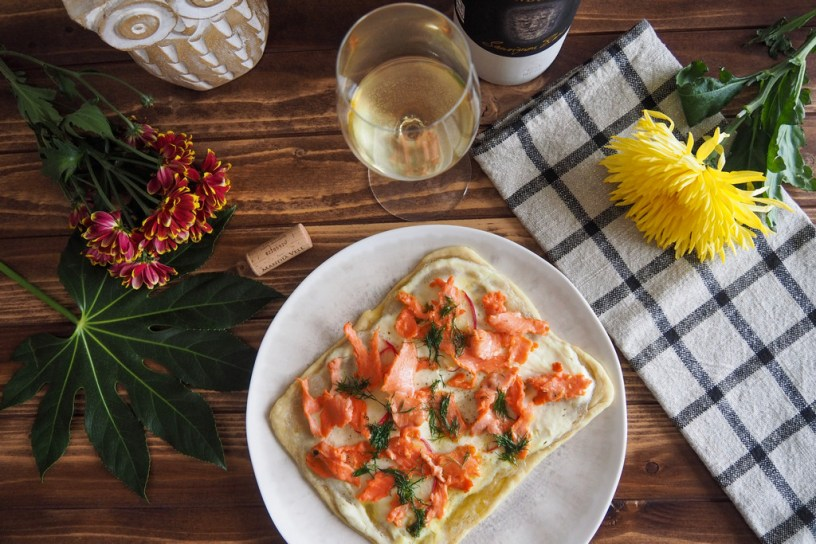 Quick and easy Smoked Salmon Flammkuchen